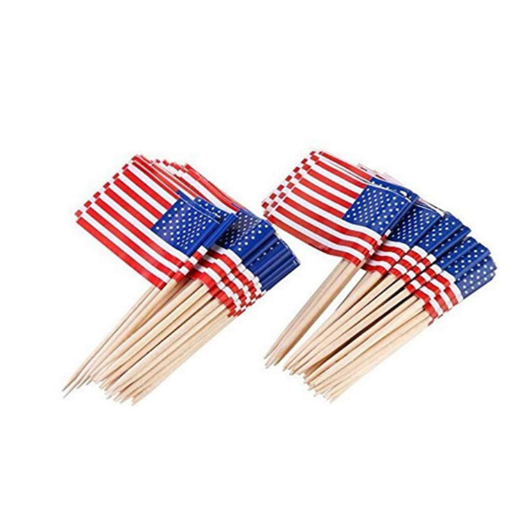 Disposable Wooden And Bamboo Flag Toothpick For Decoration