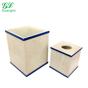 Wooden hand painted lines trash can with tissue box