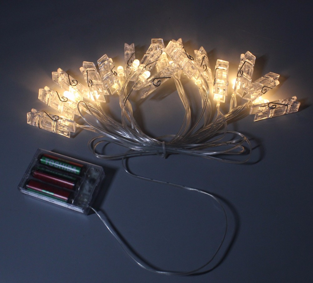 String Lights Photo Clips : Xmas New Years Party Decoration 16 Led Photo Clips String Lights For Hanging Pictures Notes ...