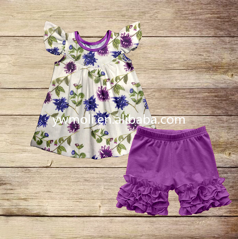 2017 latest hot selling floral pattern dress match shorts cheap boutique girl outfits wholesale baby clothing