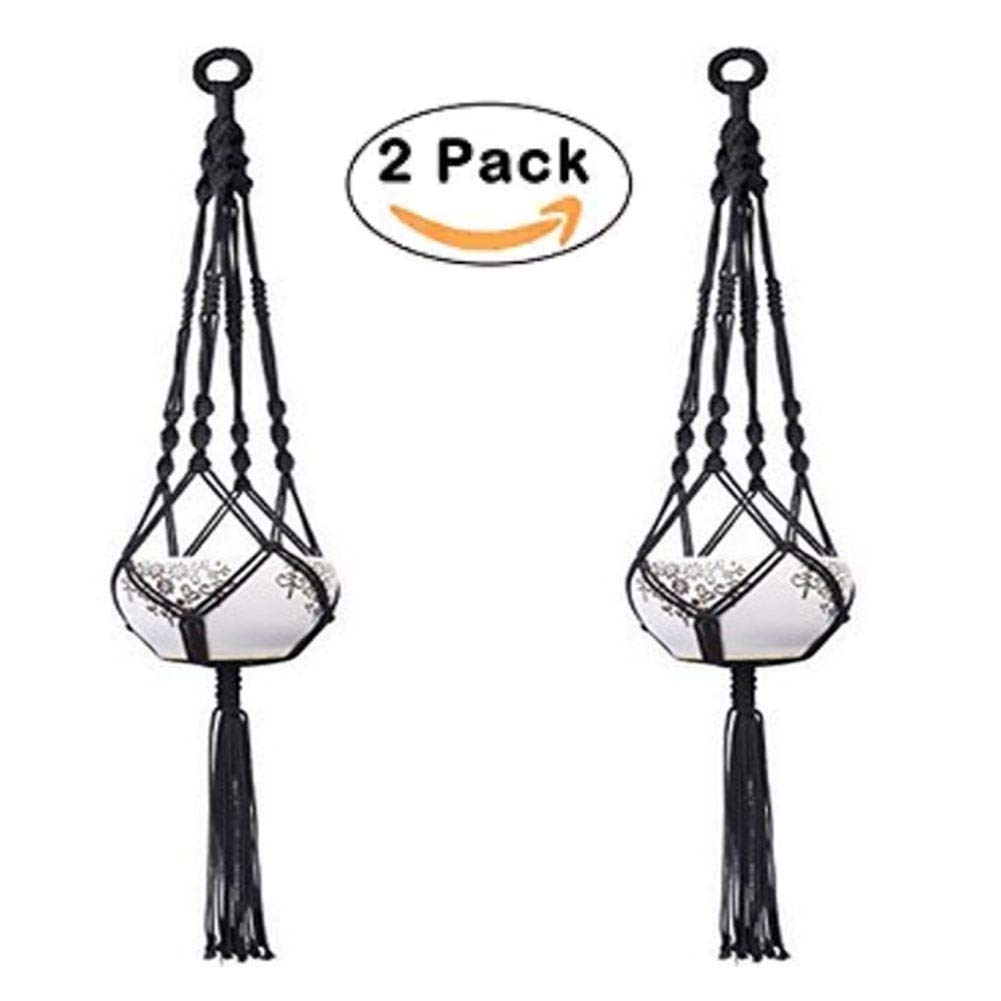 2 Pack Macrame Plant Hanger Indoor Outdoor Hanging Planter Black Plant Hanger for for Round and Square Pots 41 Inch