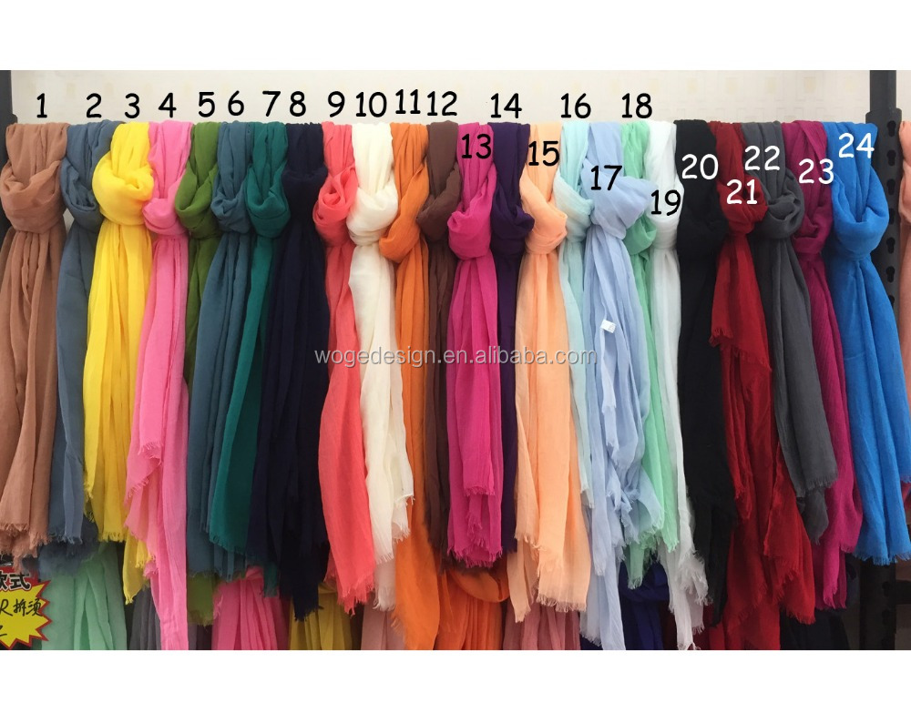 Spring yiwu factory islamic dress wraps shawls echarpe raw trim chiffon wool blend solid plain women viscose muslim hijab scarfs
