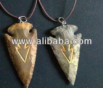 Gemstone Arrowhead Pendants