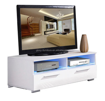 Modern TV Cabinet / Television Stand With LED Lights Entertainment Cabinet  White High Gloss Panels