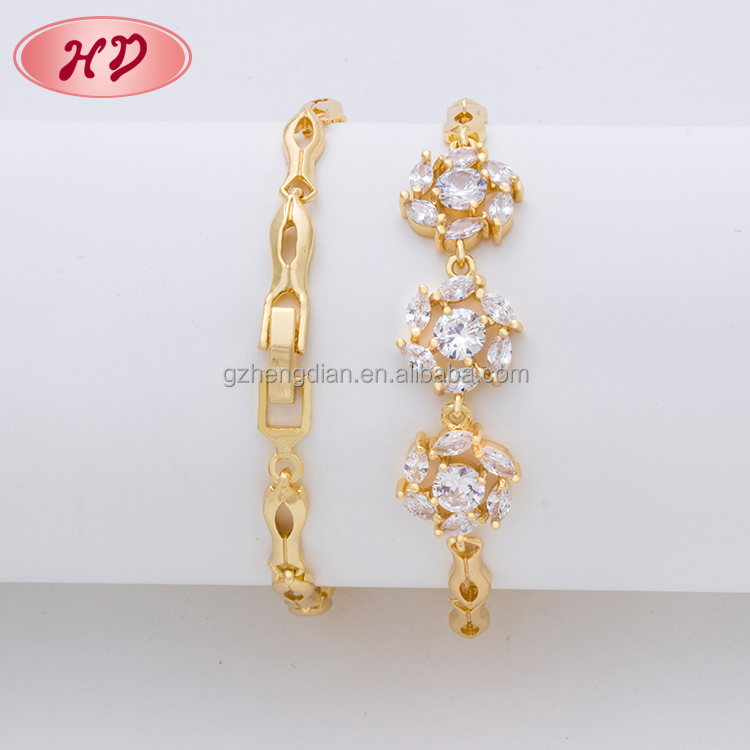 Wholesale dubai wedding 18K gold plated jewelry, noble brazilian CZ jewelry zircon bracelet for girls