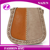 2017 certificated Italian mixed color camel color PU Leather sling crossbody casual mini shoulder bag