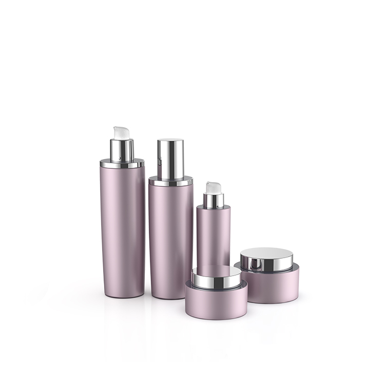 Best quality round pink color empty customized aluminum cosmetic lotion pump bottle