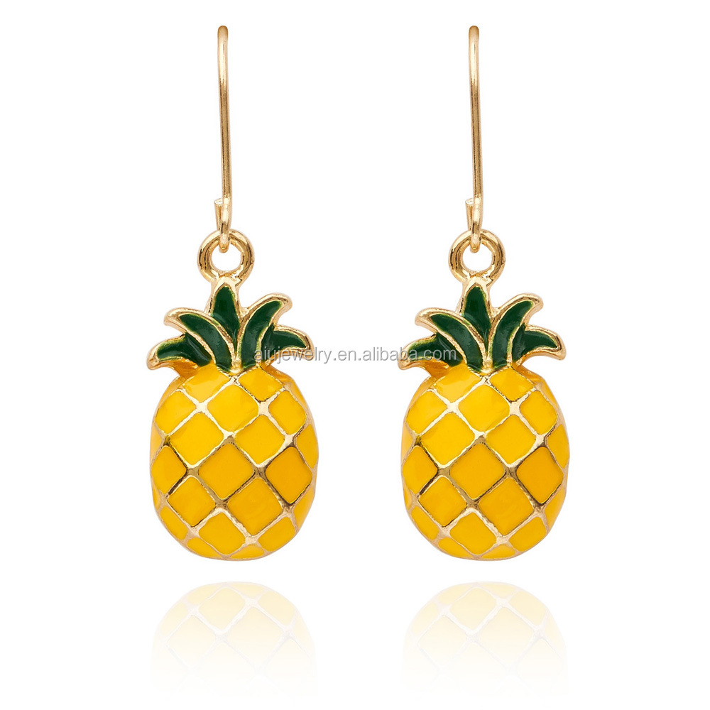 enamel pineapple Fruit Dangling Earrings