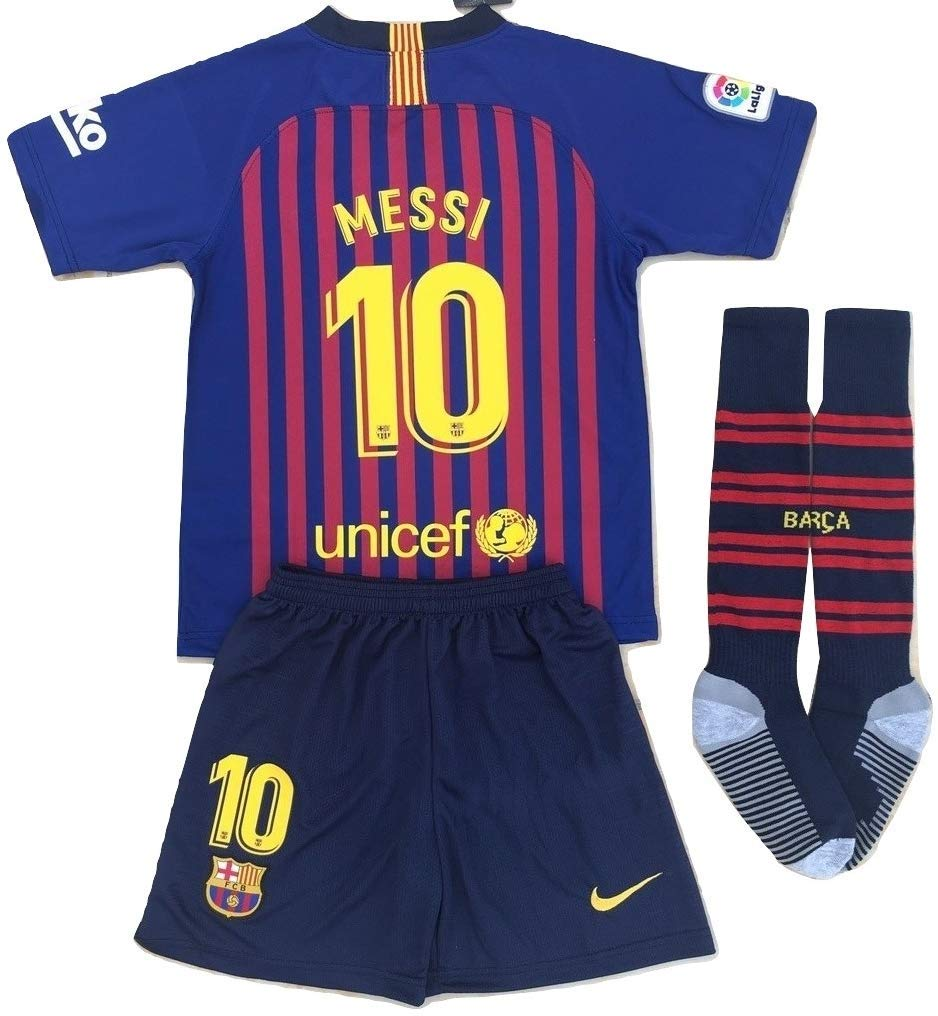 11-13 Years Old Messi #10 New 2018-2019 FC Barcelona Home Jersey /& Shorts for Kids//Youth Red Blue