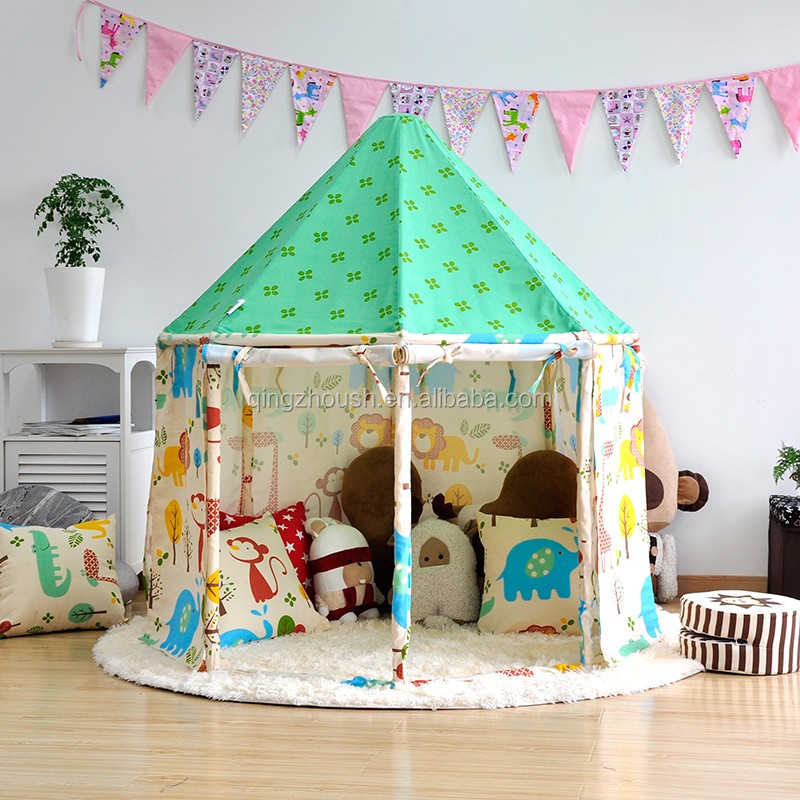 canvas white lace pom pom kids toy tents read corner Children Play House Kids Room Decor tee pee tent