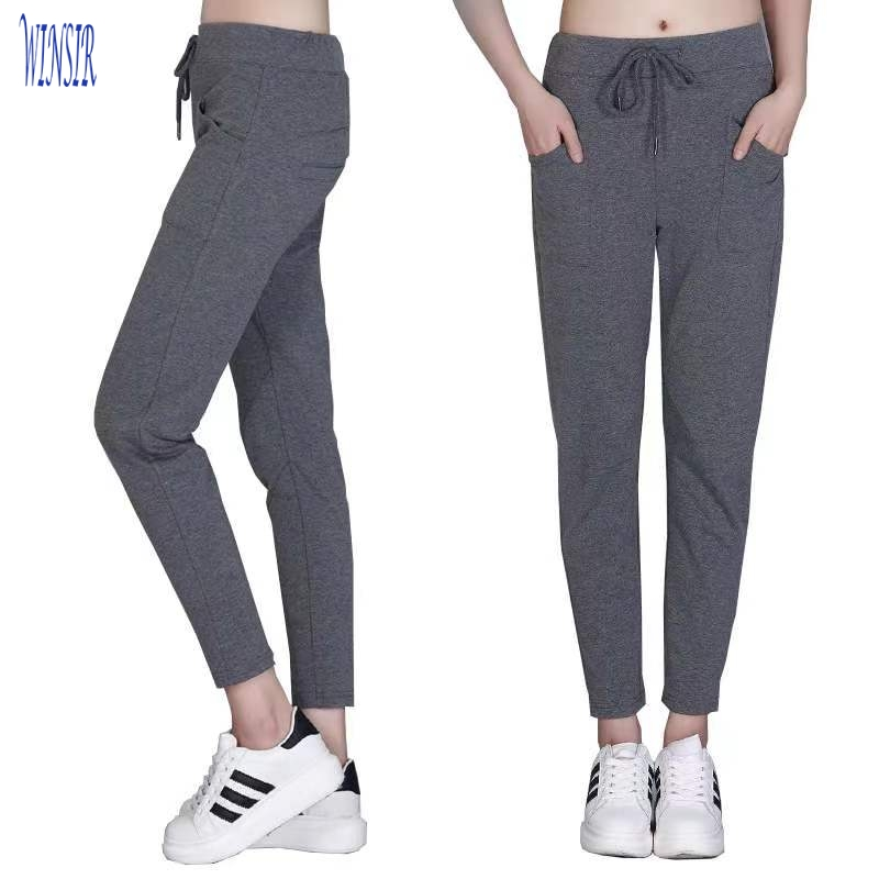 French Terry Skinny Casual Tie Waist workout gym Track Active Sport wear Lounge Sweat women jogger pants with side zip Pockets