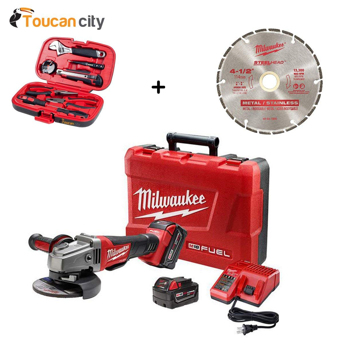 Milwaukee M18 FUEL 18-Volt Lithium-Ion Brushless 4-1/2 in. /5 in. Grinder, Paddle Switch No-Lock Kit with 4-1/2 in. Diamond Blade 2780-22-49-93-7805 and Toucan City Tool Kit (9-Piece)
