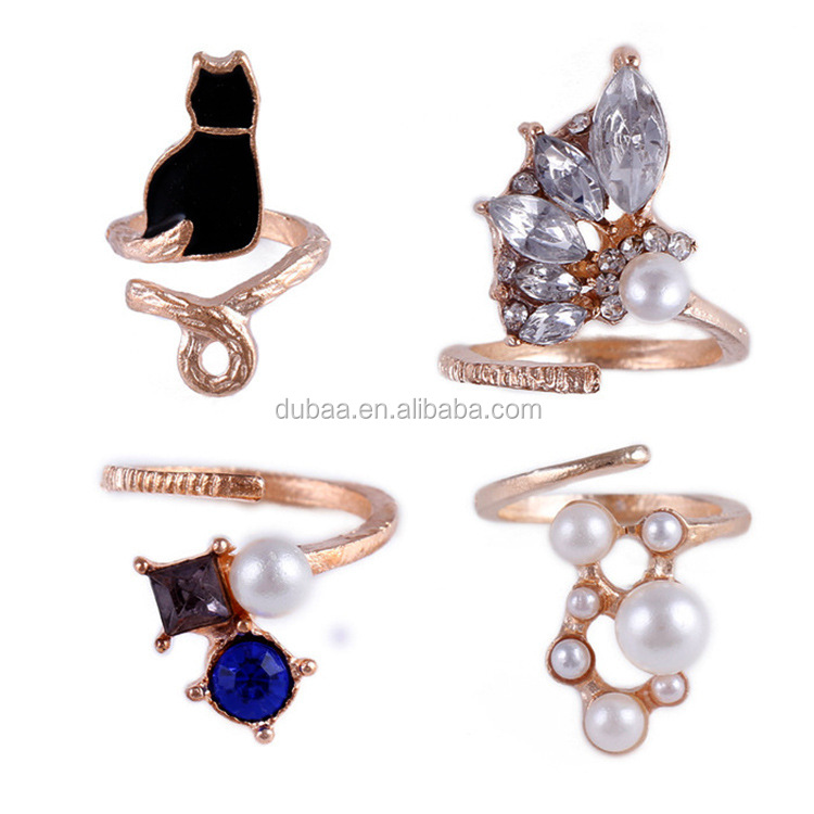 New Tide Girl Charms Nightclub Punk Gold Plated Metal Crystal Cat Created Pearls Nail Rings Knuckle Ring
