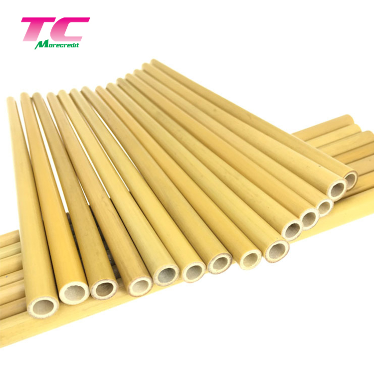 Hot Selling Customized Logo Reusable Straw Biodegradable Natural Bamboo Drinking Straws Set Packing