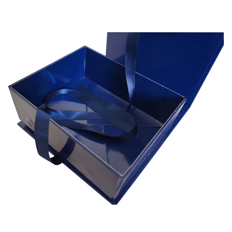 Luxury cardboard paper magnetic closure ribbon foldable flat pack rigid packaging gift boxes