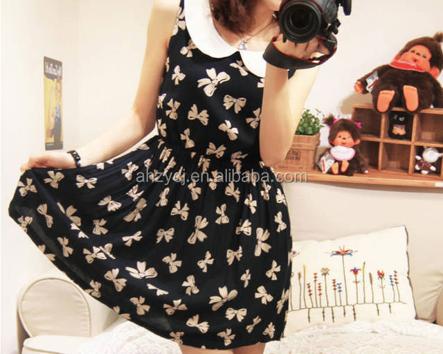 Newest factory sweet Korean design vivi collar butterfly sleeveless print girl's dresses