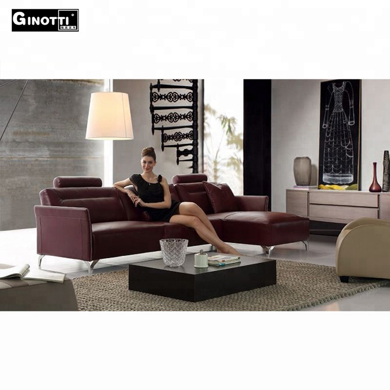 Victorian Style Modern Red Sectional Leather Sofa In Living Room