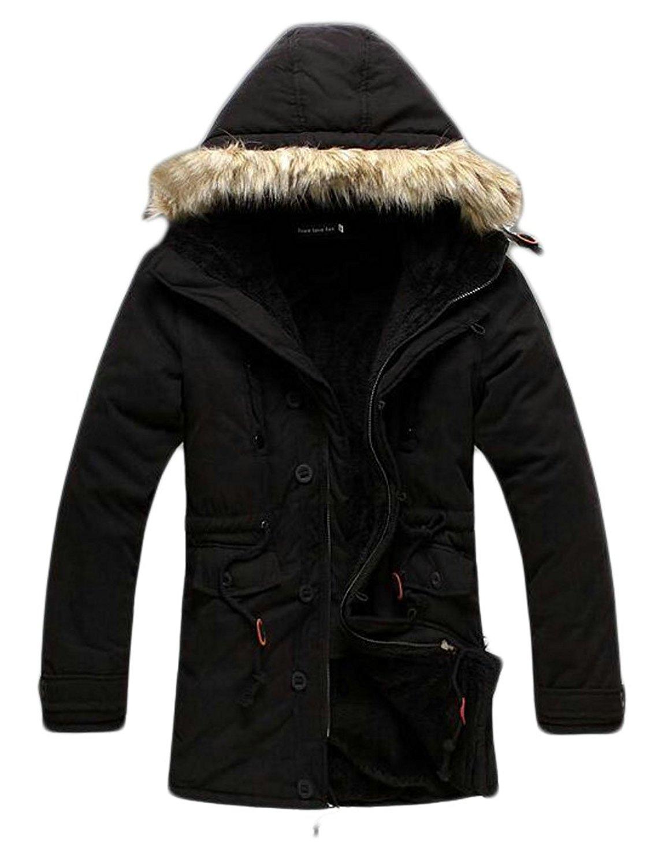 Pandapang Mens Thicken Faux Fur Winter Fleece Lined Single Breasted Parka Coat Jacket