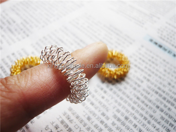 Finger Massage Ring Acupuncture Rings Health Care Body Massager gold and silver
