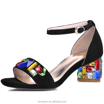a1a3115bb15 Fashion ladies low heel peep toe girls colorful rhinestone block heel  sandals