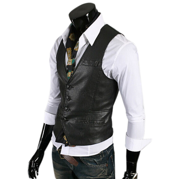 Men Vest 2015 Brand Colete Masculino Chaleco Hombre Slim Fit Tank Tops Gilet PU Waistcoat Sleeveless men's leather jacket ZHY191