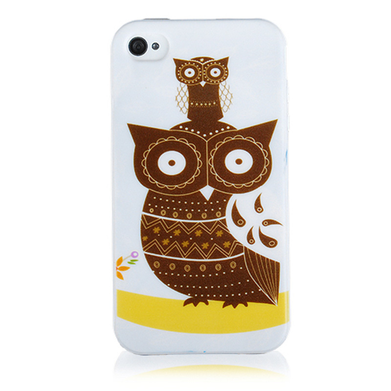 6c708f4894 Get Quotations · 2015 Fashion Colorful Animal Owl Print Soft Silicon Phone  Case For Iphone 4/4s Back