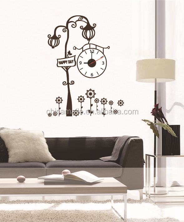 removable decoration wall sticker with clock,3d diy designer