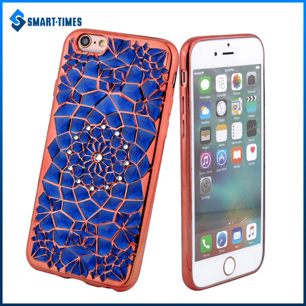 [Smart Times] New Electroplating Sunflower With Diamond Design Back Cover For IPhone 6 TPU Phone Case