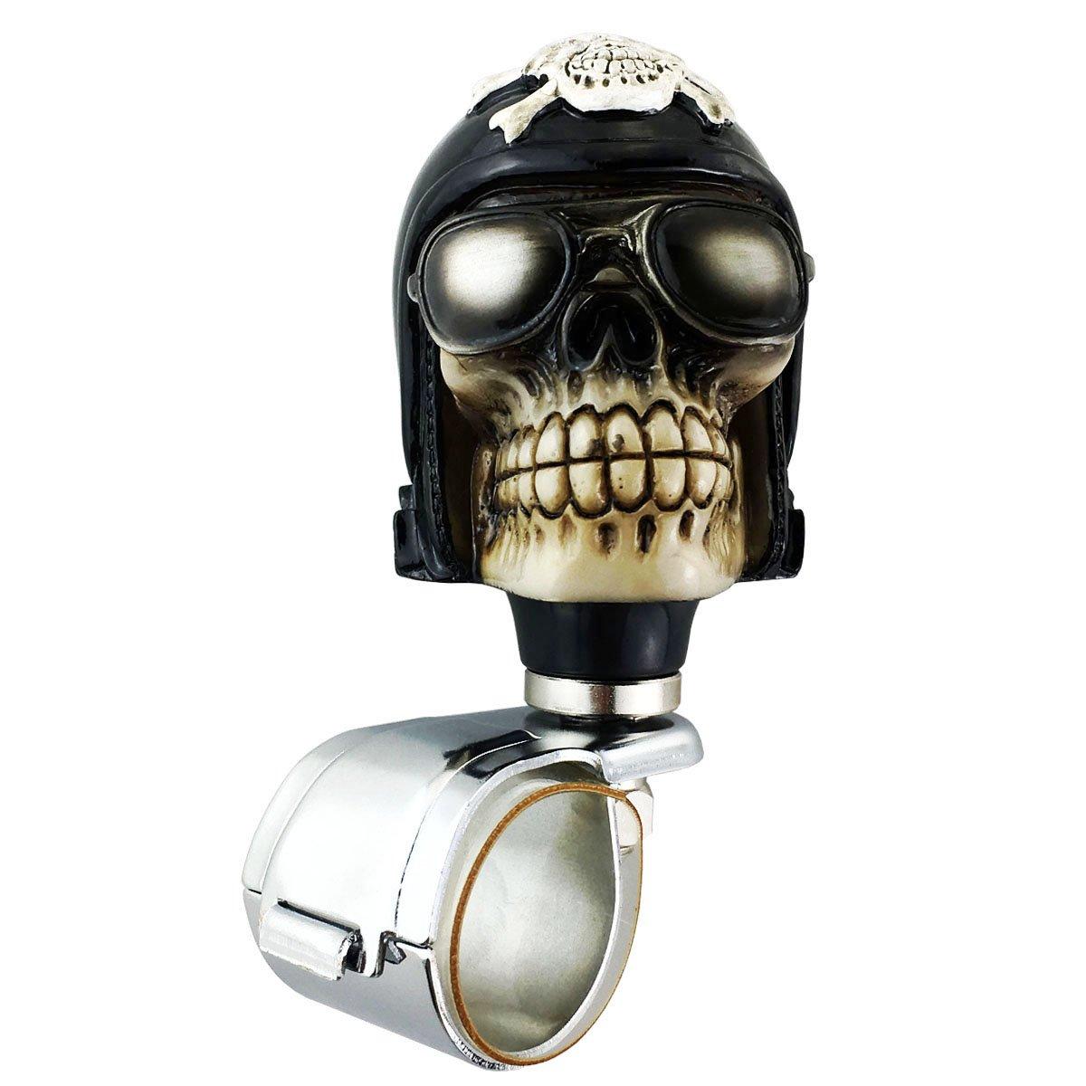 Abfer Suicide Knob Wheel Spinner Skull Steering Wheel Assist Knob Gold Steering Spinning Handle Ball for Vehicles