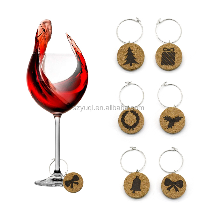 2019 New Arrival Christmas Cork Wine Charms Gift Set