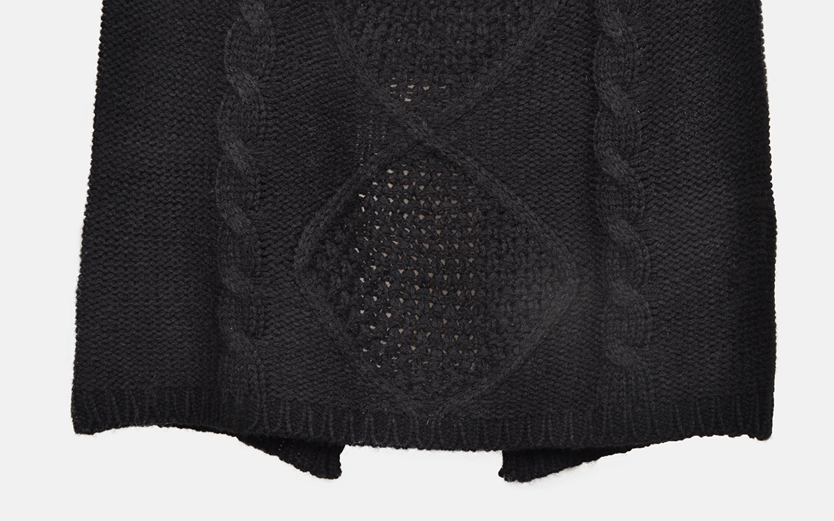 cable  knit black color pocho large sleeve slim fit pullover womens sweater sets with straight skirt