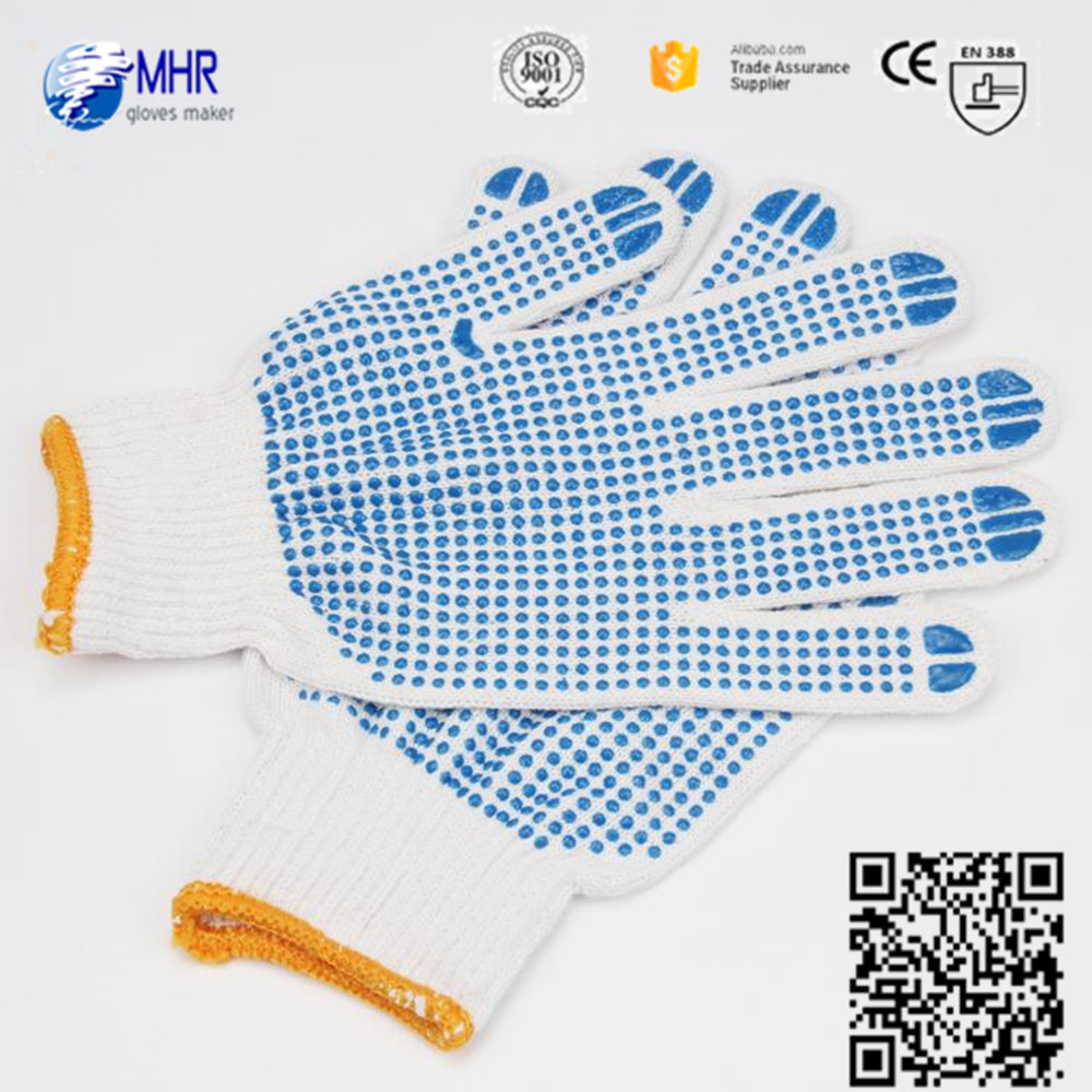 Brand MHR safety equipment for garden work cotton yarn knit mechanic cotton working hand gloves with pvc dots