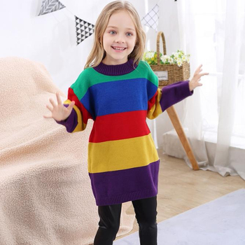 2018 new autumn and winter long-sleeved rainbow color stripes girls sweater