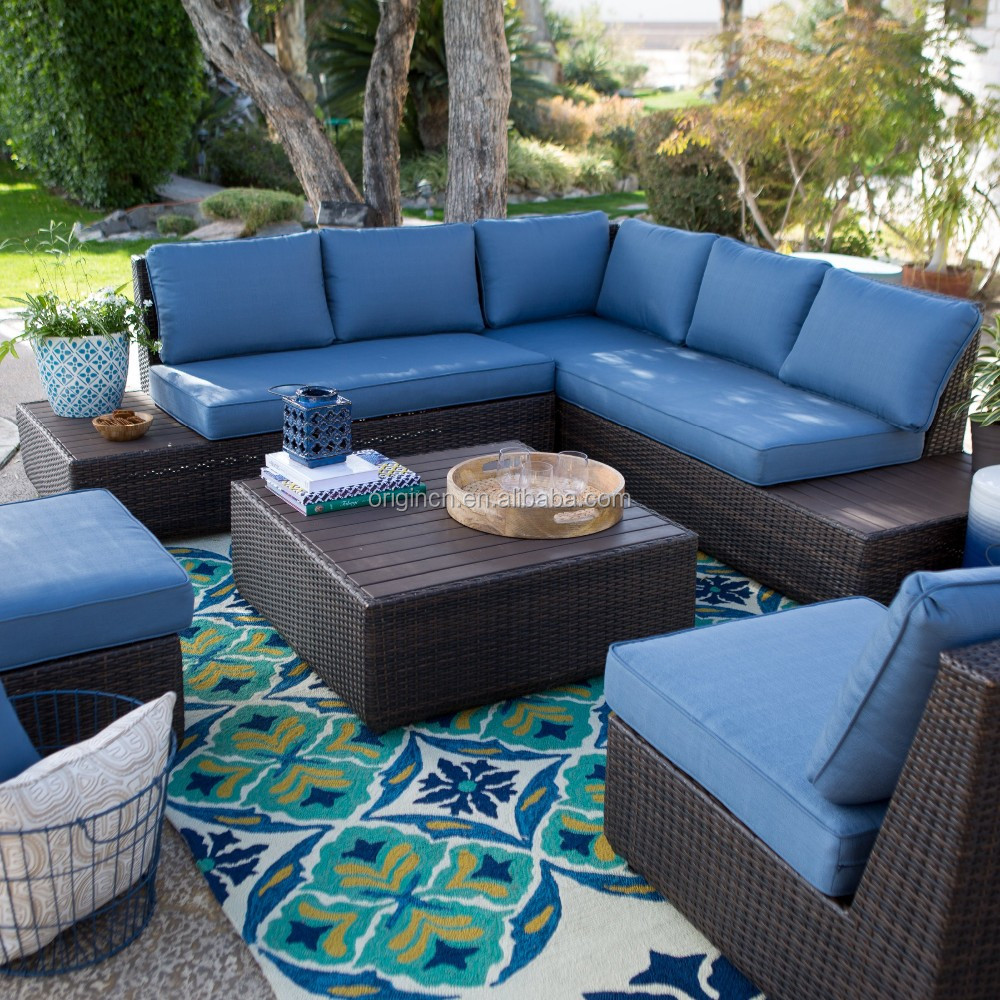 Great Pacific Navy Blue Aluminum Topped Leisure Garden Outback Sectional Sofa Set Patio  Furniture Factory Direct Wholesale