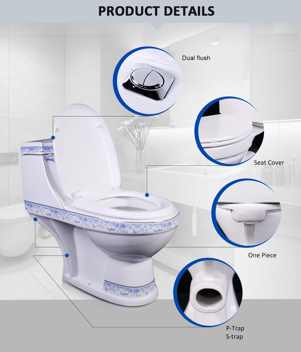Home Bathroom P Trap, S Trap White Porcelain Clay Closestool Water Closet