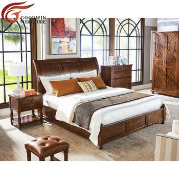 2018 High Quality European Design Good Sleeping Teak Oak Wood King Queen  Size Bed