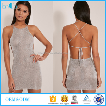 2016 Summer Latest Design Silver Metallic Halterneck Mini Dress ...