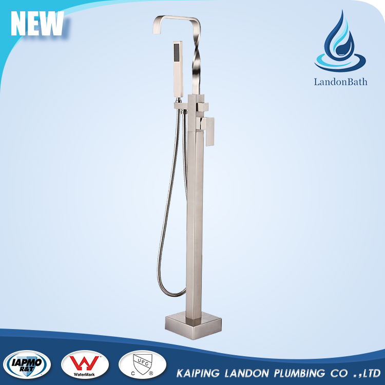 Bathroom floor stand faucets with hand shower dual handle Chrome finish bathtub shower mixer outdoor pool shower