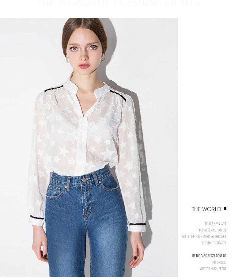 7b3d04936b4c4 2016 último blusa diseños para las mujeres de moda blanco Puntos Estrella de  punto las mujeres