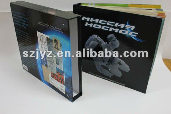 Slip cased hard cover spacecraft book with pilot's resume and spacecraft's analytical diagram