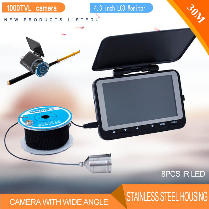"30M 4.3"" TFT Monitor Fishing Camera Kit Fish Finder 1000TVL Night Vision Underwater Video Camera System for Ice Fishing"