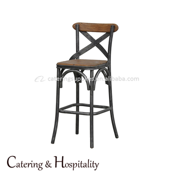 Retro Designed French Style Antique Cross Back Vintage Industrial Metal Chair  Bar Stool High Chair With