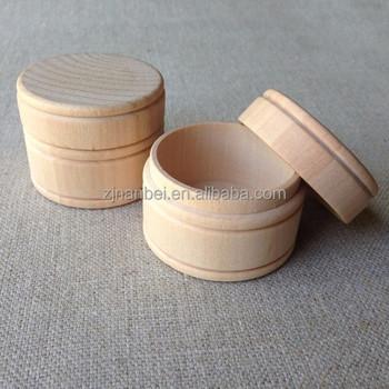 Custom Logo Unfinished Small Round Wooden Jewelry Keepsake Bo Box Wood