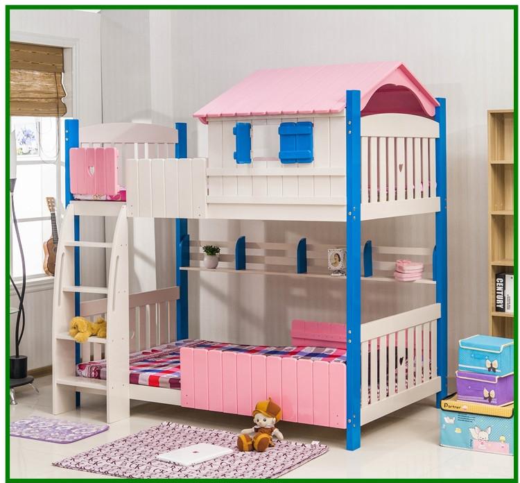 color casa una madera slida cama litera doble nios cama tome la escalera de madera de