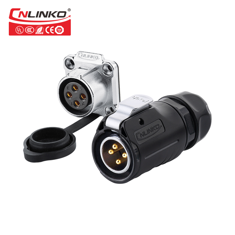 CNlinko LP - 20 Series 4 Pin Plastic Female Socket Male Plug ISO9001 / CE / RoSH Approved M20 Power Circular Connector