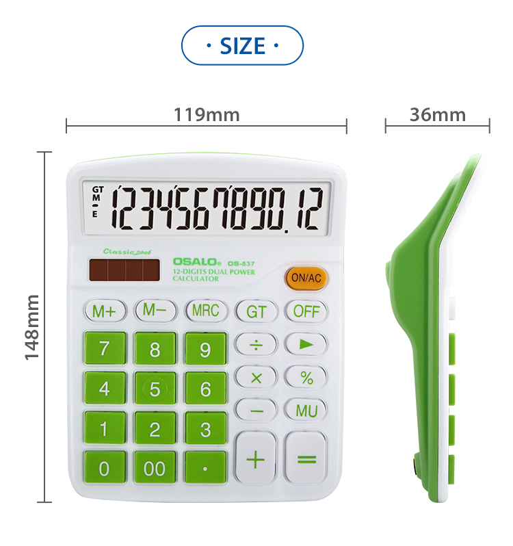 OSALO 12 digit dual power office calculator promotional gift calculator
