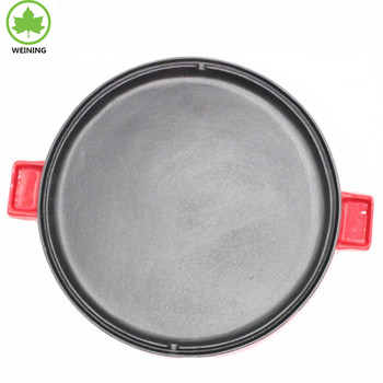 Round Cast Iron Enamel Griddle with Handle