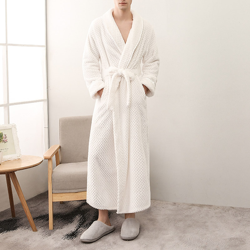 24671885ec Couple Belted Women S Robes Soft Coral Fleece Warm Long Bathrobe ...