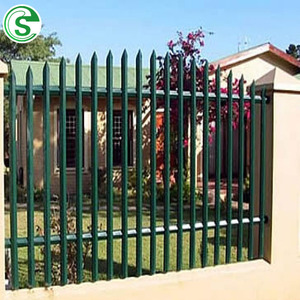 Outdoor anti rust powder coated hot galvanized cheap Europe steel palisade garden fencing