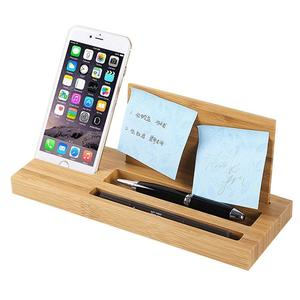 Bamboo Wood Cell Phone Stand Holder Tray Desktop Storage Shelves Pen Holder For Office,Cell Phone,Glasses Storage Box